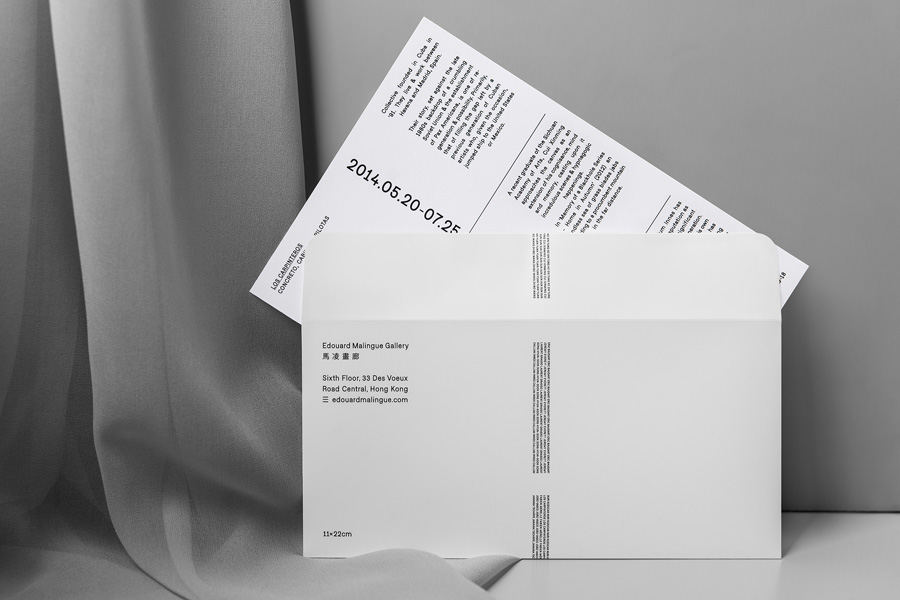 A5 card and envelope for Edouard Malingue Gallery by graphic design studio Lundgren+Lindqvist