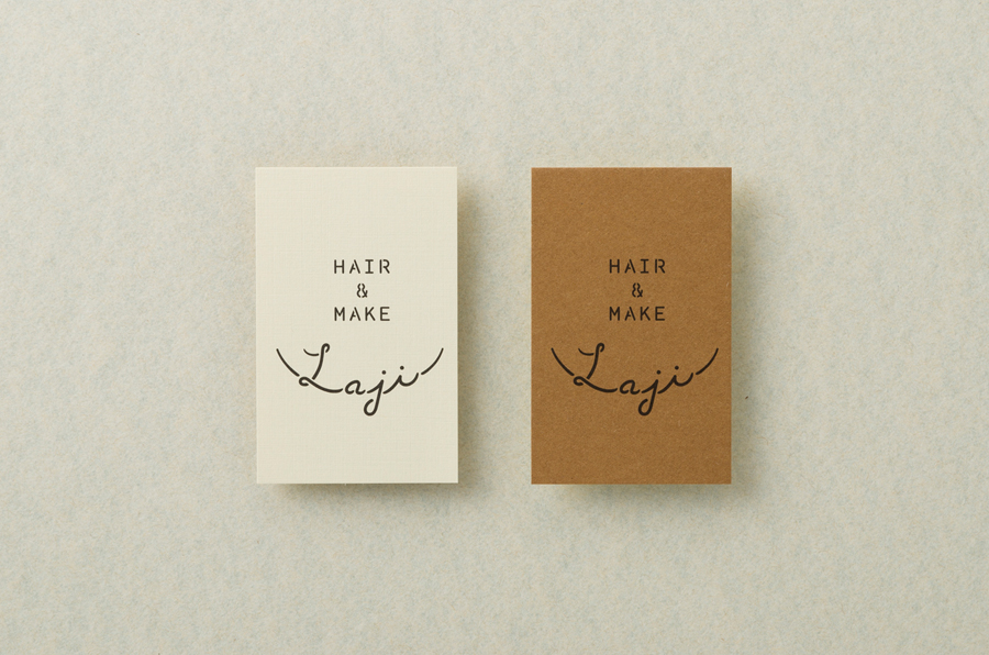 Laji Hair & Make unbleached paper business cards designed by UMA