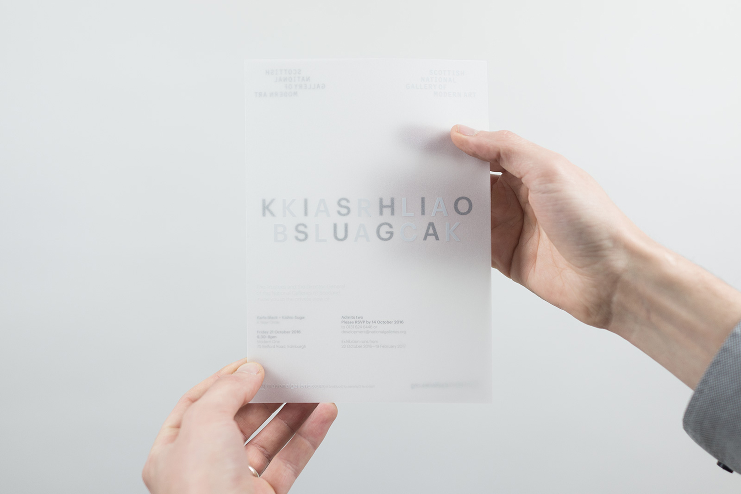 Visual identity and invitation for the exhibition Karla Black + Kishio Suga: A New Order at the Scottish National Gallery of Modern Art designed by O Street, UK