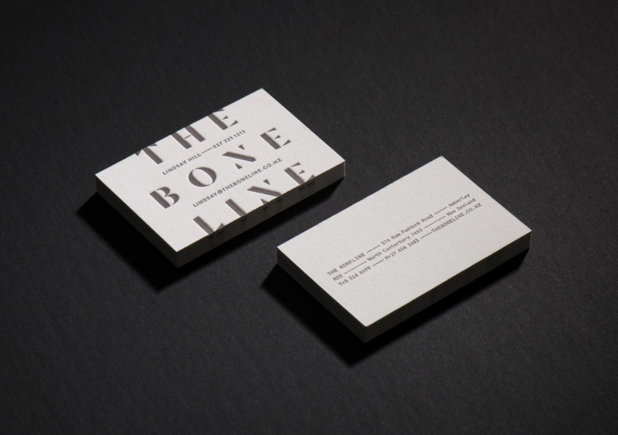 Debossed business cards for wine label The Boneline by graphic design studio Inhouse