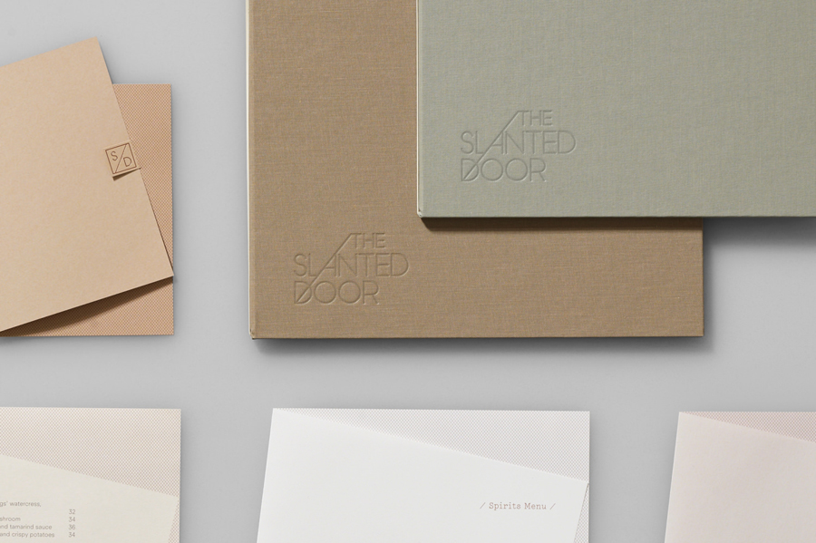Logo, business cards and menu with blind emboss print finish for Vietnamese restaurant The Slanted Door designed by Manual
