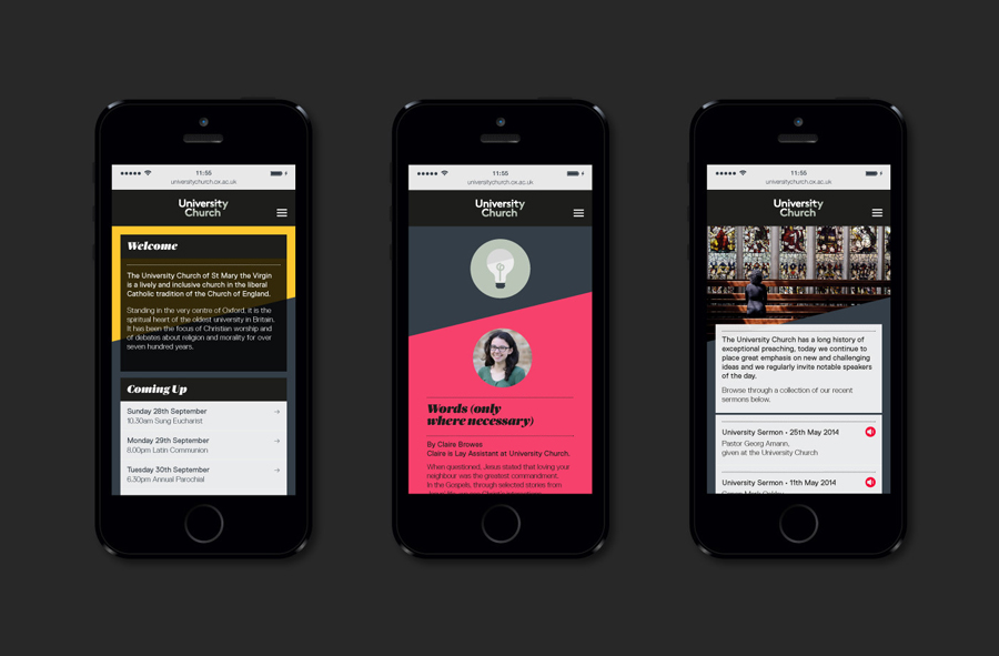 Visual identity and website for University Church designed by Spy