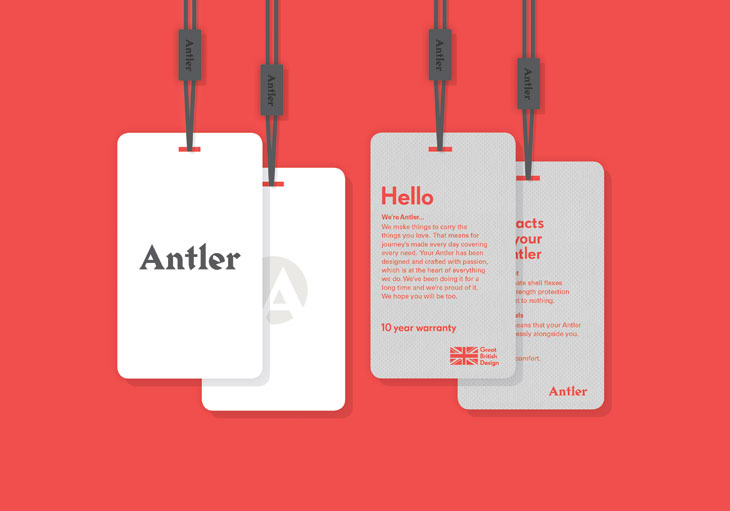Logo and tags designed by Mammal for British luggage brand Antler
