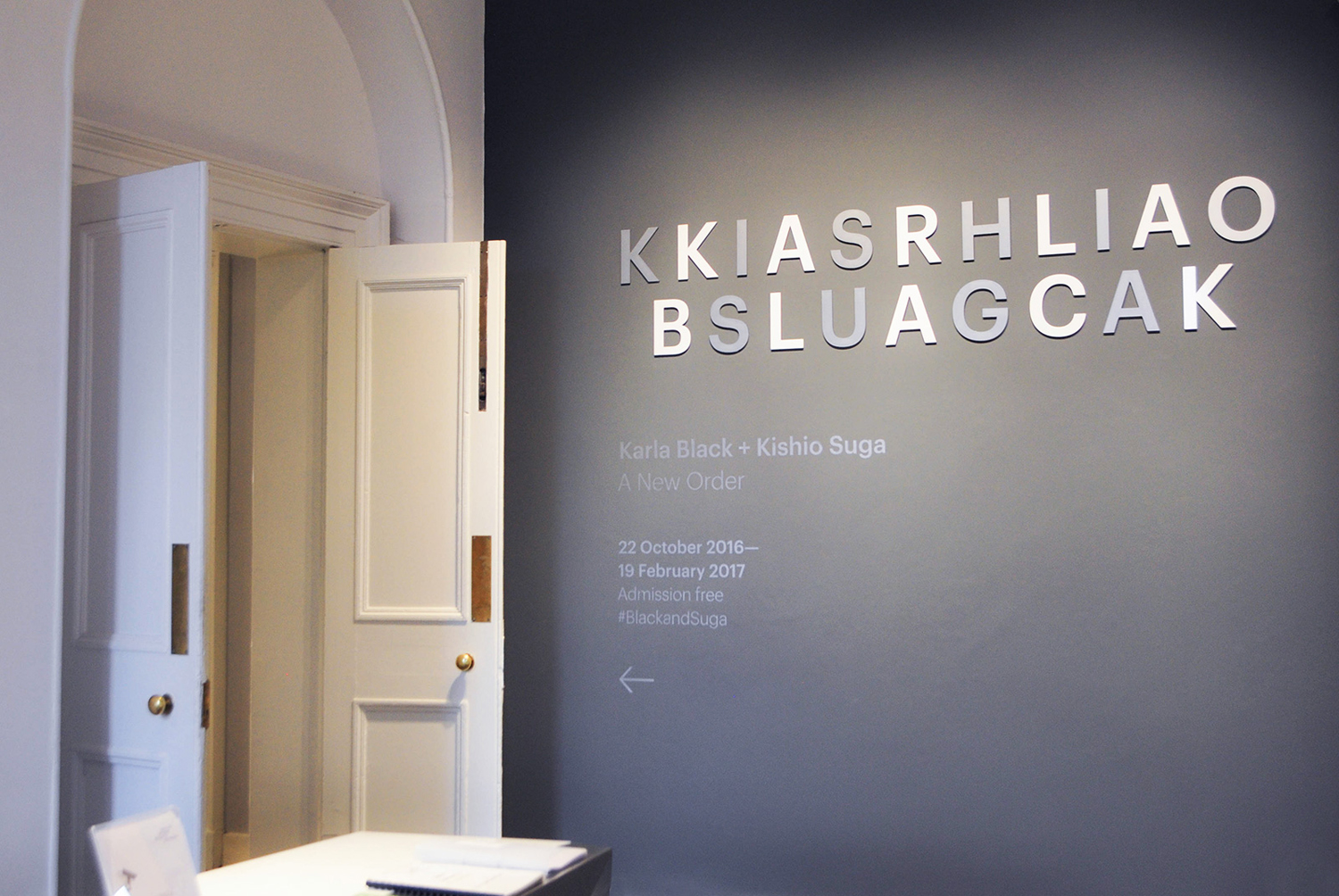 Visual identity and signage for the exhibition Karla Black + Kishio Suga: A New Order at the Scottish National Gallery of Modern Art designed by O Street, UK