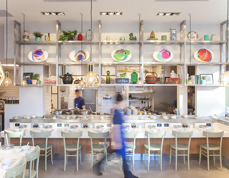 Interior design for contemporary hotpot restaurant Shuang Shuang by ico Design, United Kingdom