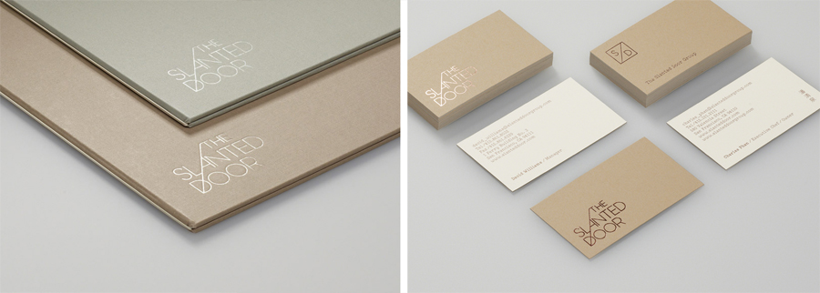Logo, business cards and menu with copper foil print finish for Vietnamese restaurant The Slanted Door designed by Manual