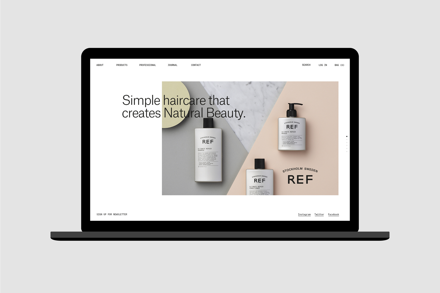 Visual identity and website by Scandinavian studio Kurppa Hosk for Swedish hair care brand REF