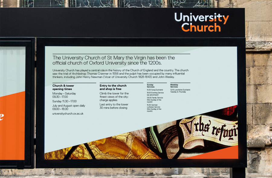Visual identity, print and signage for University Church designed by Spy