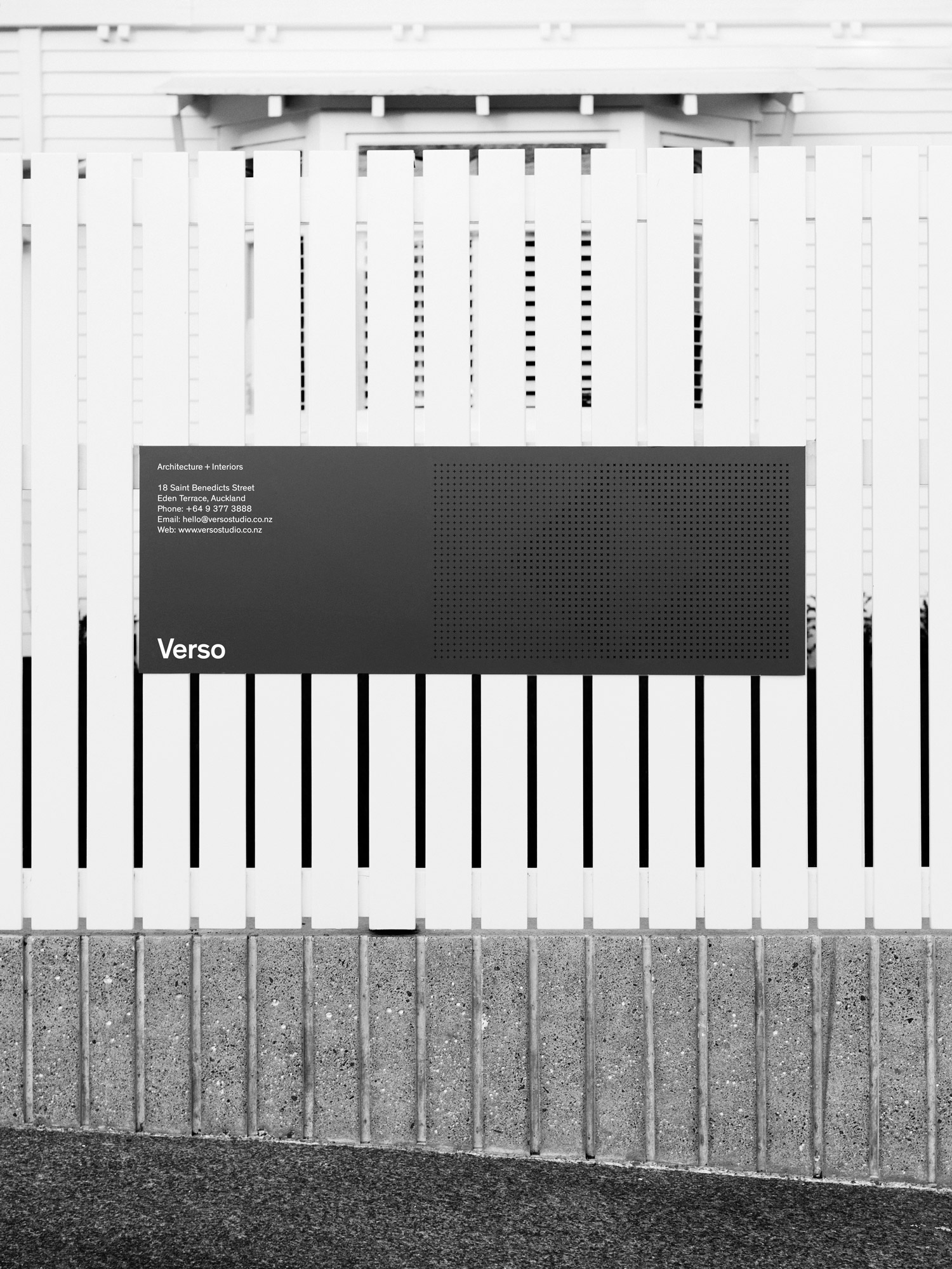 Brand identity and signage by Studio South for Auckland-based architecture and interior business Verso