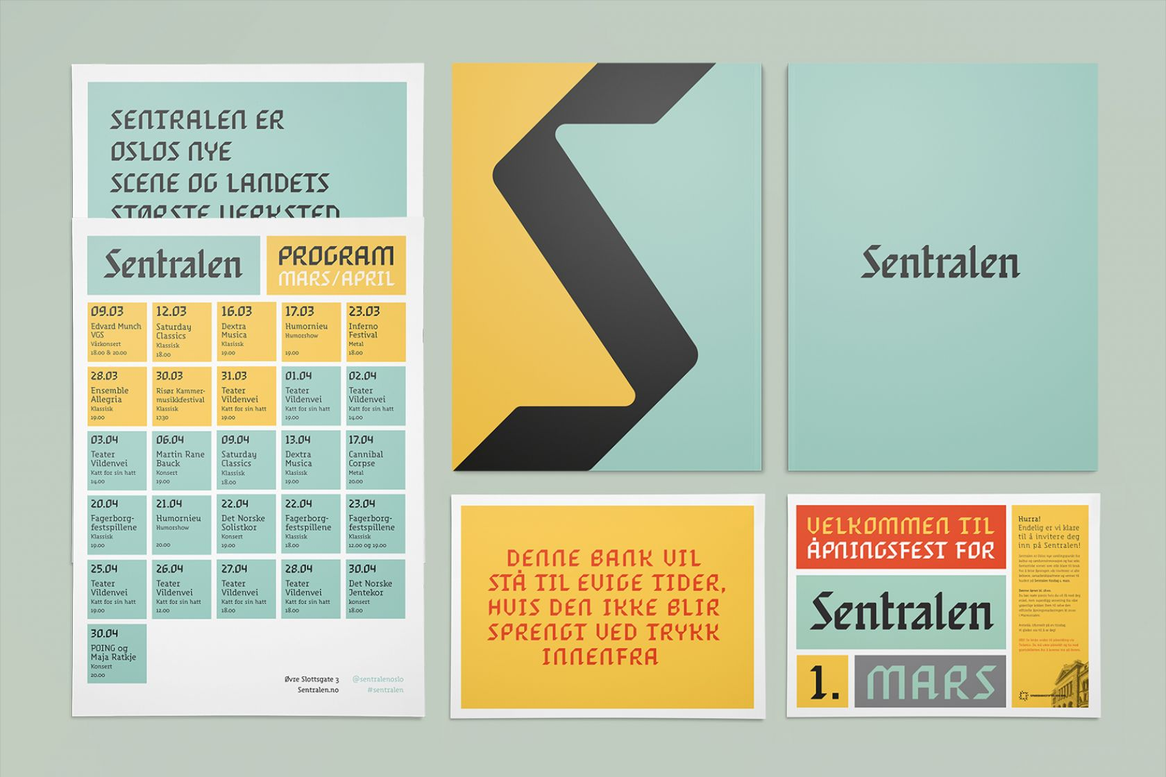 Brand identity and print for Oslo-based cultural centre and co-working space Sentralen by Metric Design, Norway