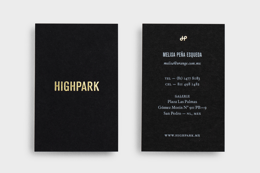 Gold block foil black business card design by Face for luxury Mexican property development Highpark