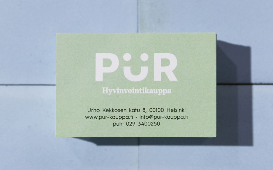 Brand identity and business card designed by Bond for Helsinki-based health store PÜR