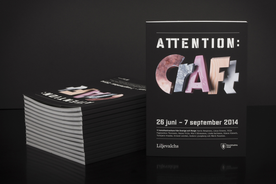 Logo, visual identity and print for Attention: Craft by Snask designed in Stockholm, Sweden