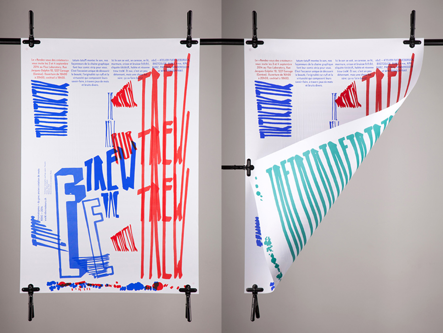 Poster design by Marks for material and print finish exhibition Rendez-vous des créateurs 201420-RDVC-2014-Posters-by-Marks-on-BPO