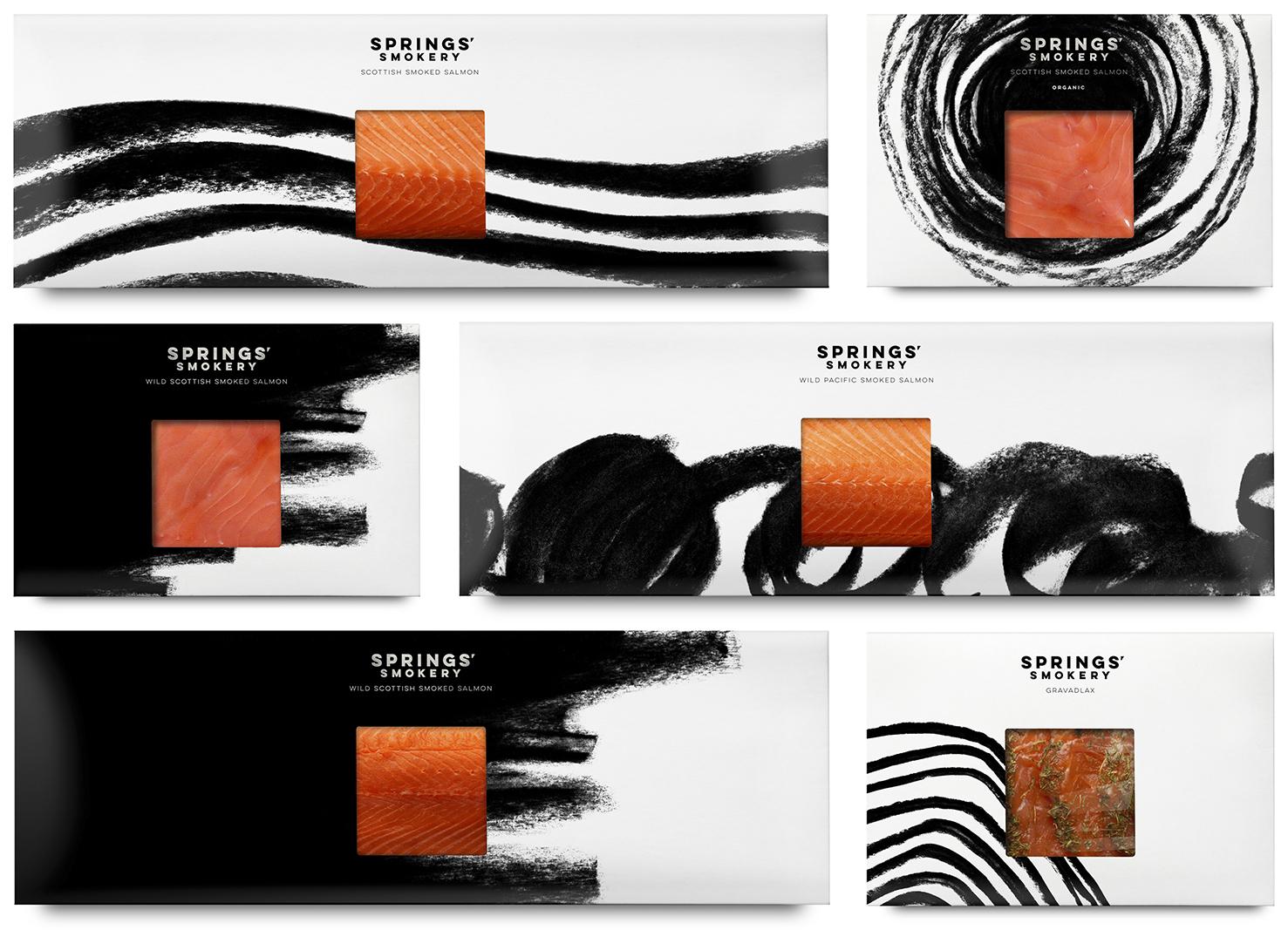 Black & White Branding – Springs' Smokery by Distil, United Kingdom
