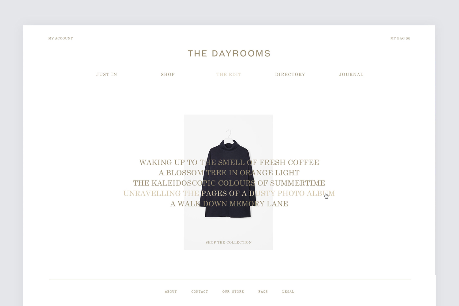 Brand identity and website design by Two Times Elliott for Australian fashion boutique in London The Dayrooms