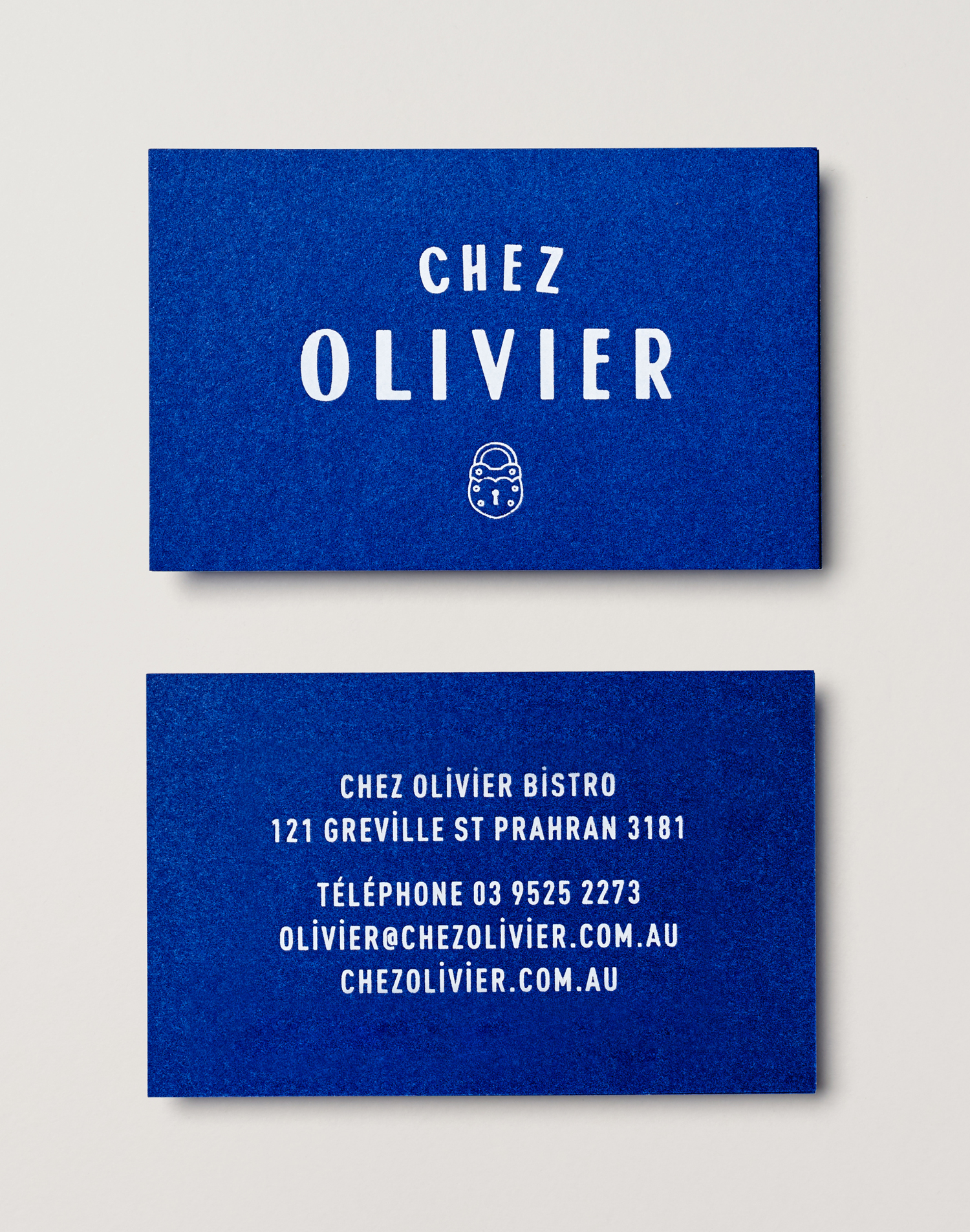 Brand identity and business cards designed by Swear Words for Melbourne-based French bistro Chez Olivier.