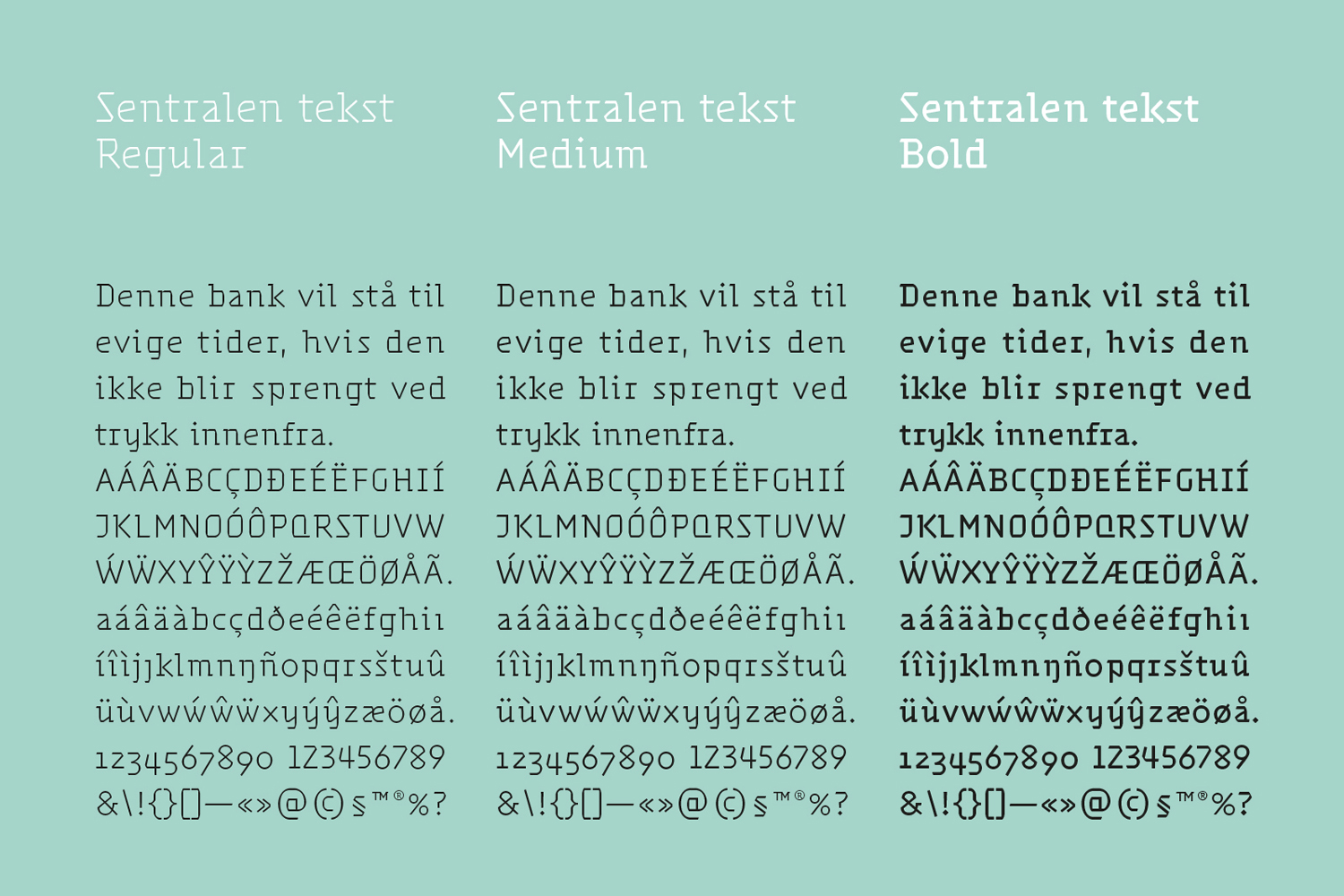 Brand identity and custom typography for Oslo-based cultural centre and co-working space Sentralen by Metric Design, Norway