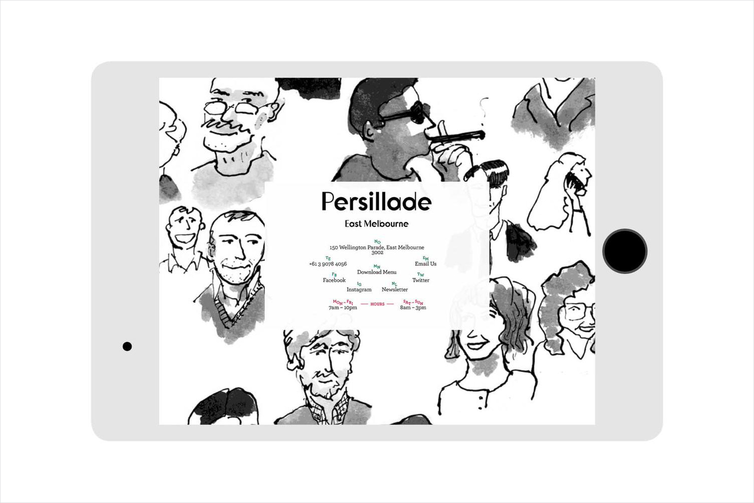Logotype and website designed by Clear Design with illustration by Oslo Davies for Melbourne cafe Persillade