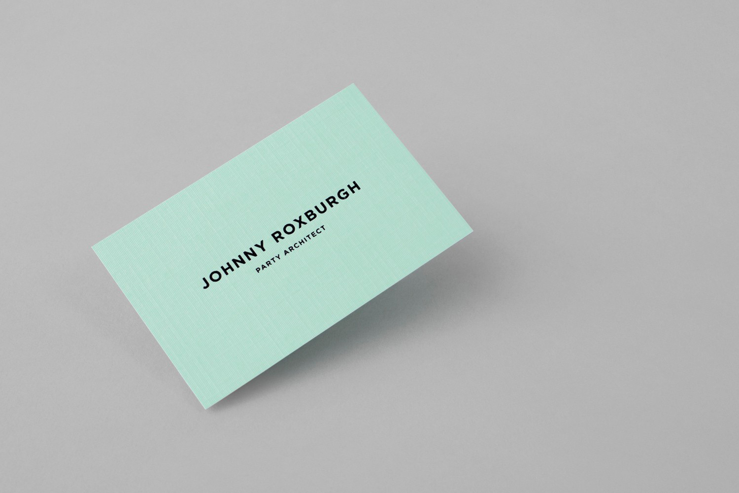 Brand identity and business card for UK party architect Johnny Roxburgh by graphic design studio Bunch