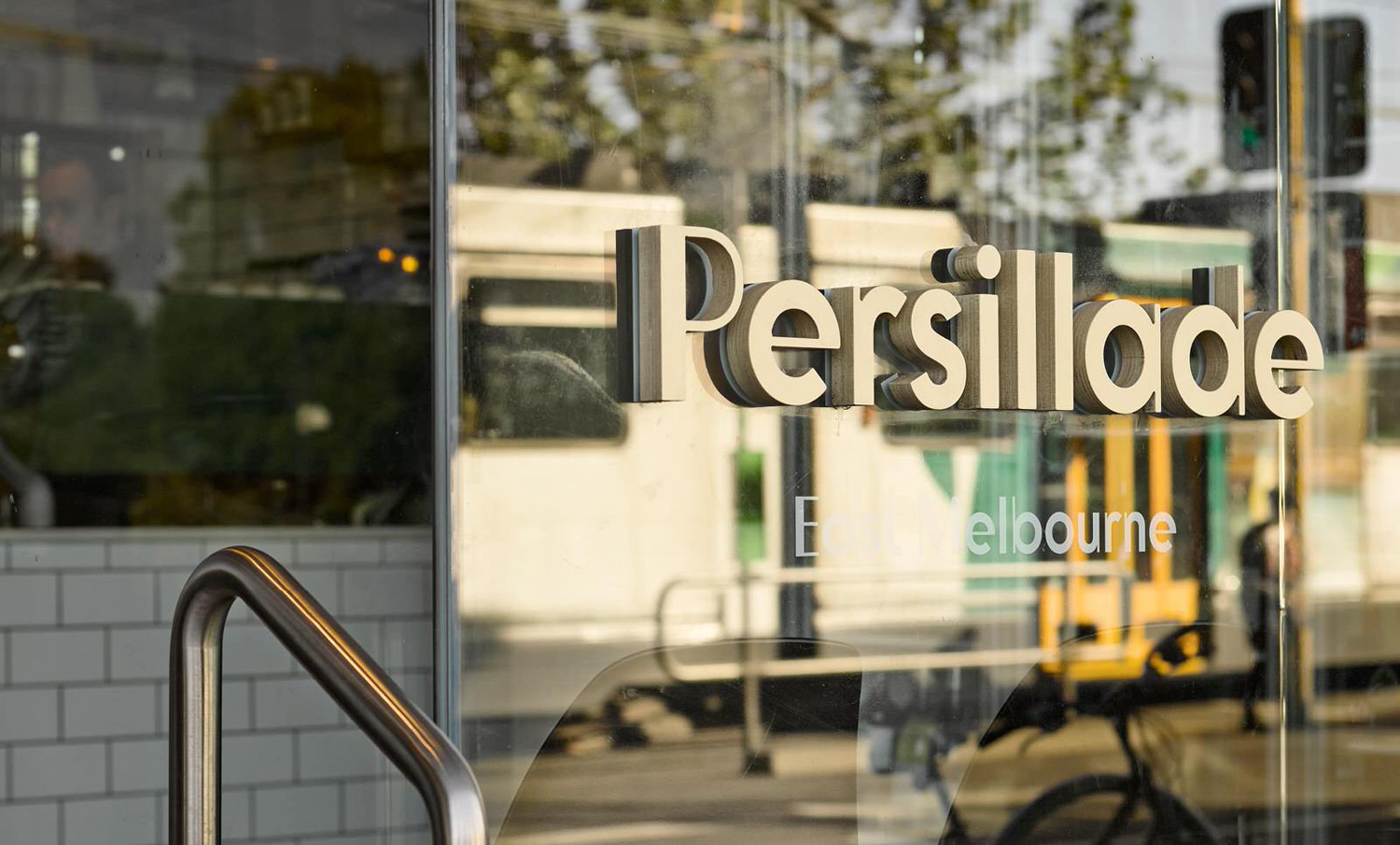 Logotype and signage designed by Clear Design for Melbourne cafe Persillade