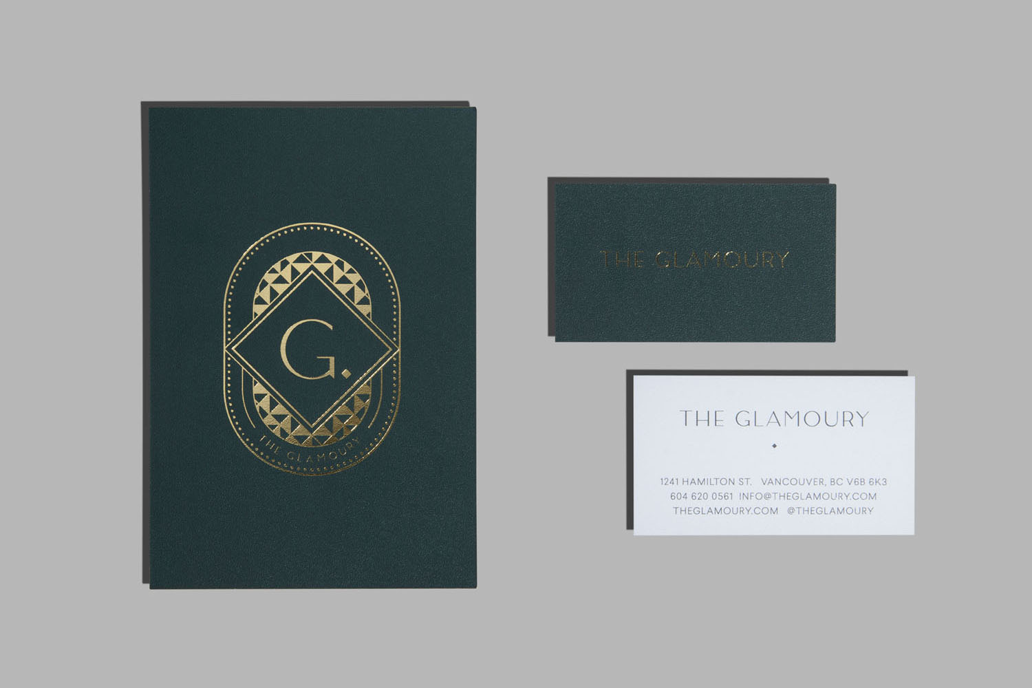 Brand identity and gold block foiled business cards by Canadian studio Glasfurd & Walker for Vancouver-based luxury make-up and styling salon The Glamoury.