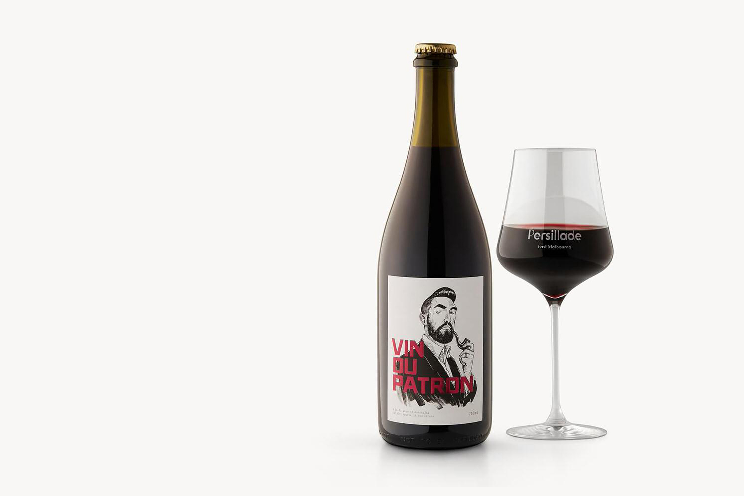 Wine bottle label designed by Clear Design with illustration by Oslo Davies for Melbourne cafe Persillade
