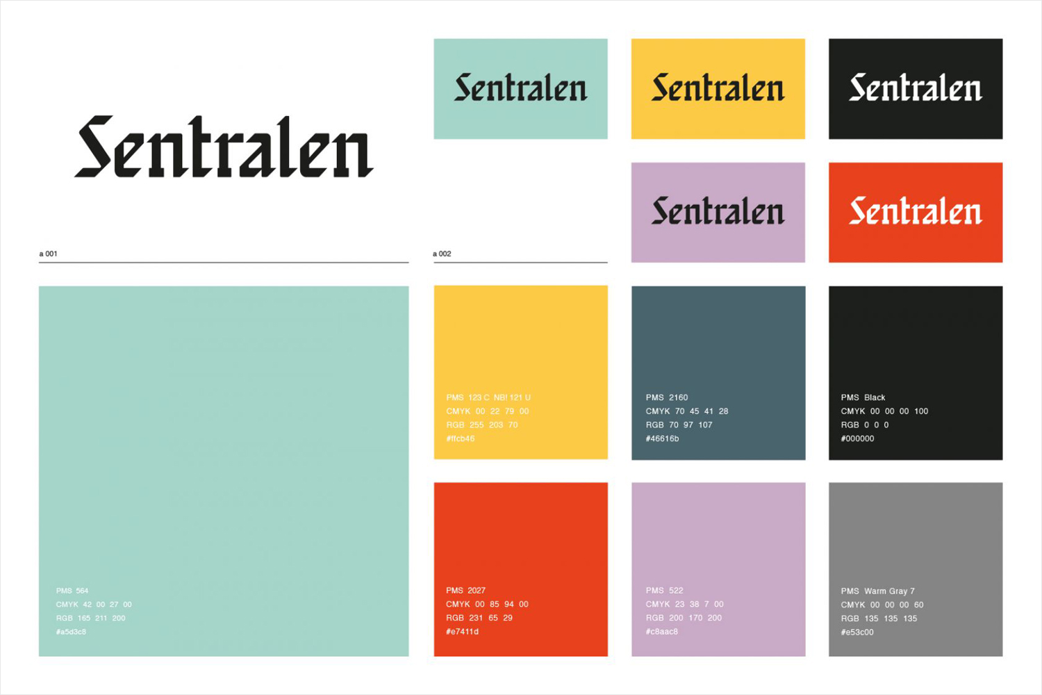 Wordmark for Oslo-based cultural centre and co-working space Sentralen by Metric Design, Norway