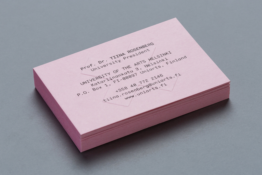 Logo and coloured board business cards designed by Bond for the University of the Arts Helsinki