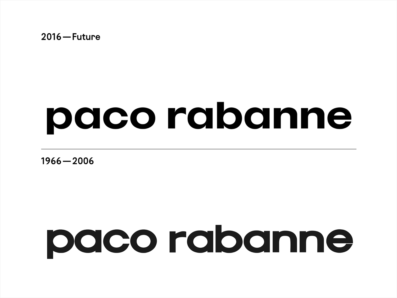 Logotype for French fashion label Paco Rabanne by Zak Group, United Kingdom