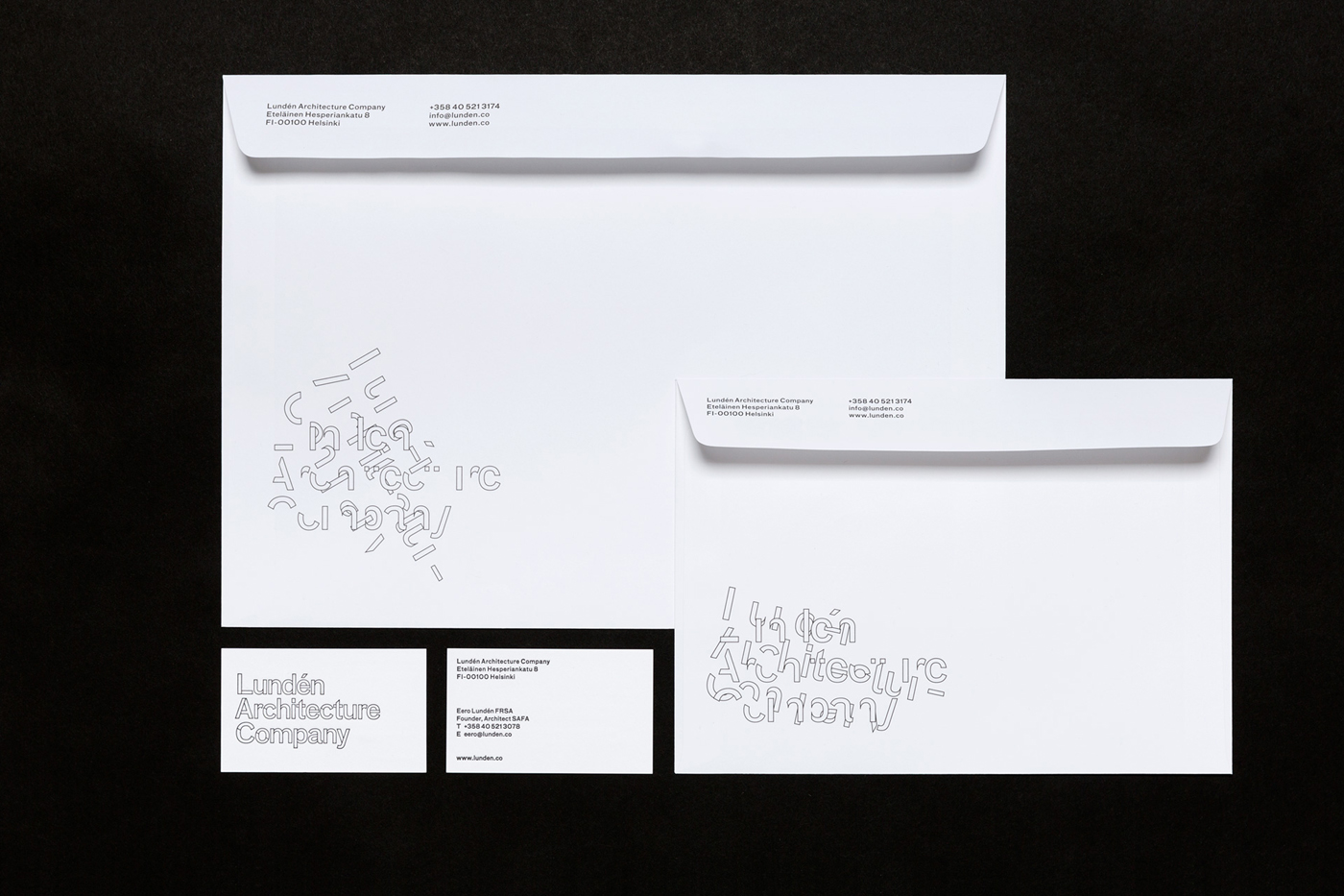 Logotype, business cards and envelopes by Finnish studio Tsto for Helsinki-based Lundén Architecture Company