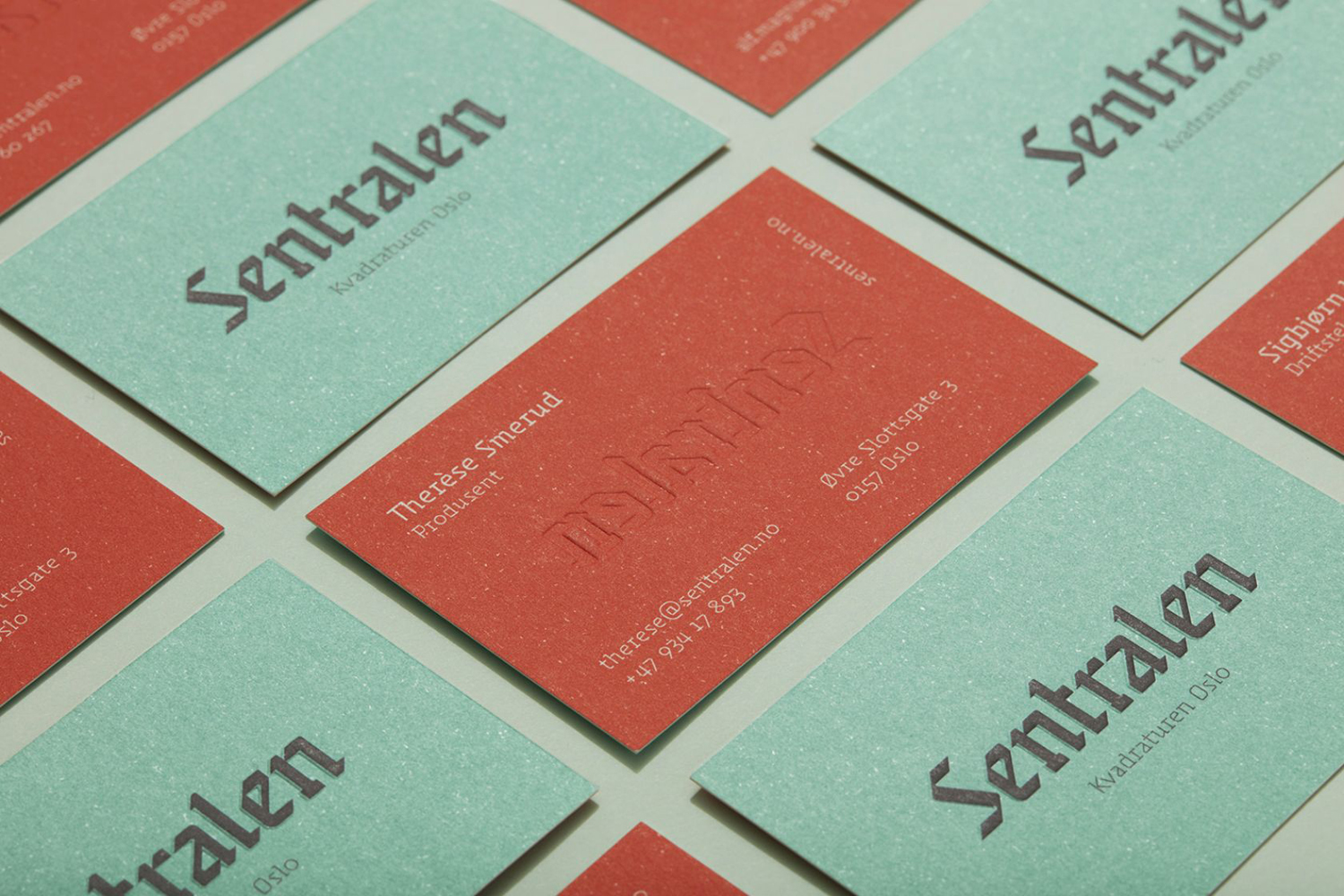 Embossed business cards for Sentralen by Metric Design, Norway