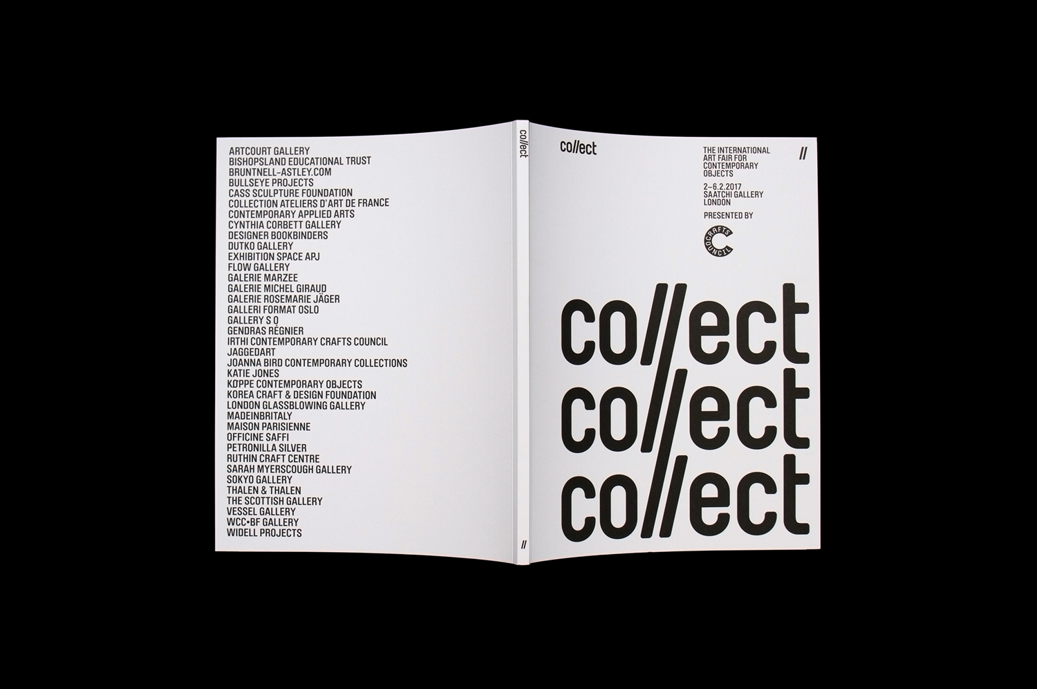 Brand identity and catalogue for contemporary international art fair Collect, designed by Spin, London, UK