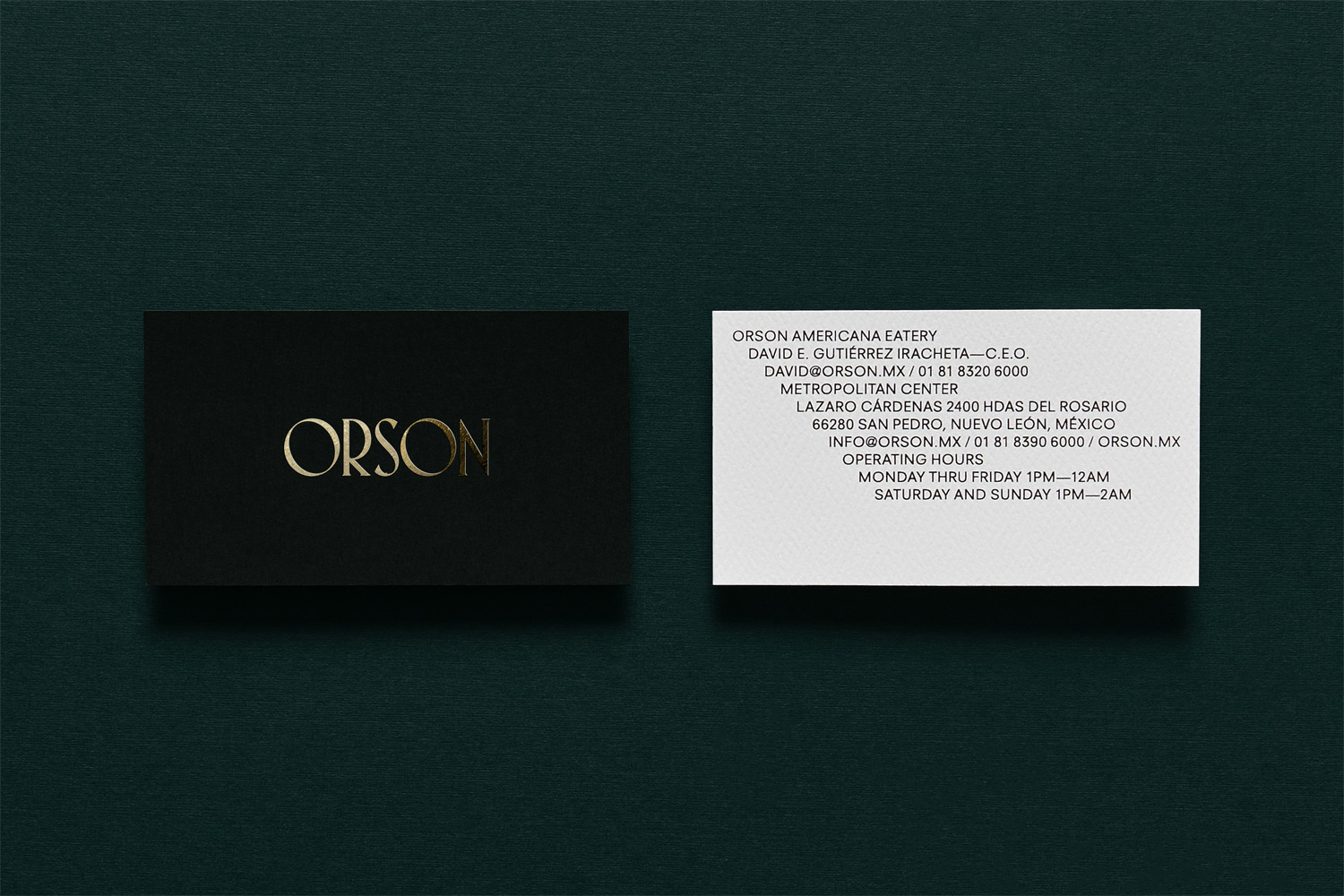 Logotype and business cards with gold foil detail by Anagrama for San Pedro based burger bar Orson