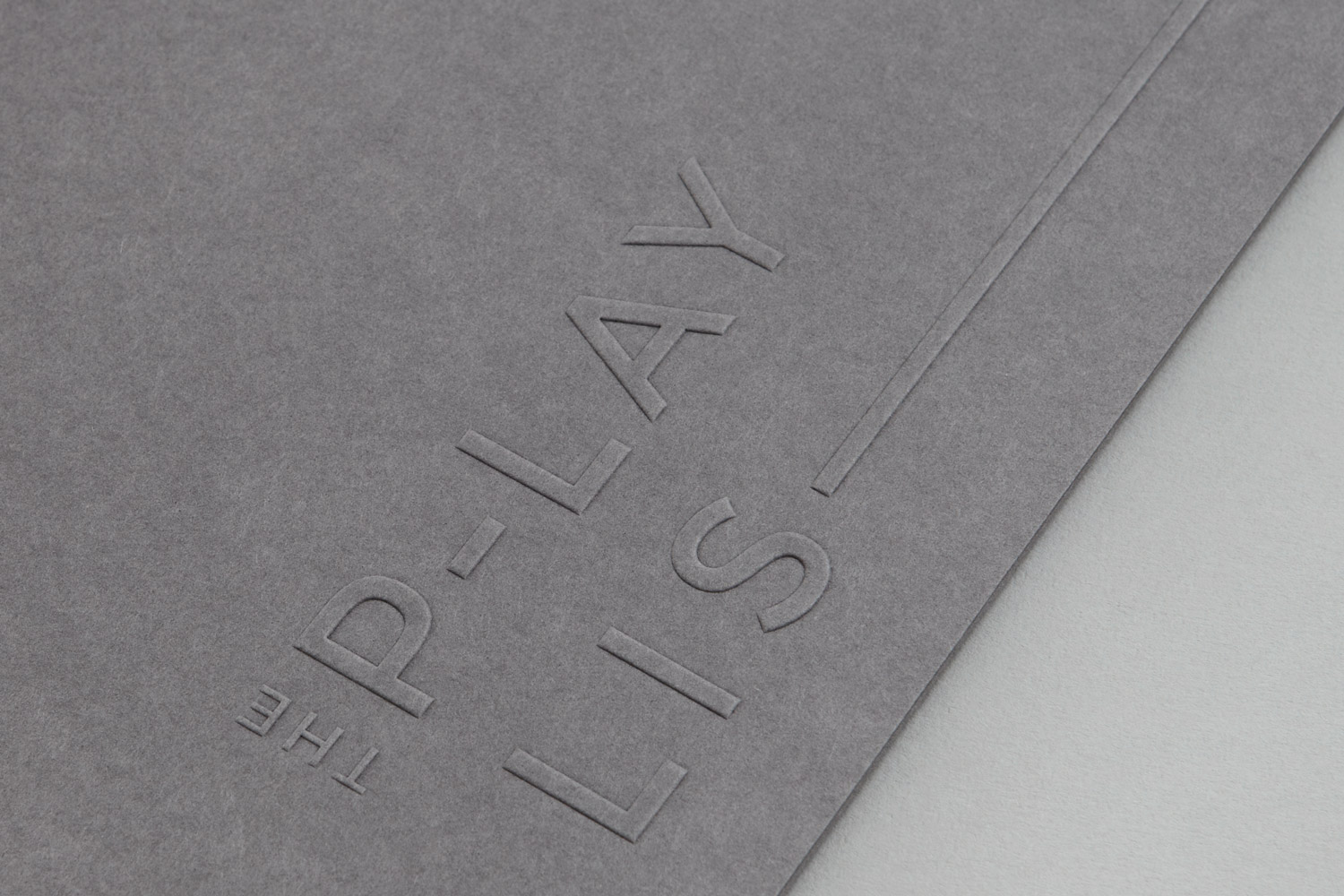 Brand identity and blind embossed folder for Toronto based custom event soundtrack business The Playlist Co. by graphic design studio Blok