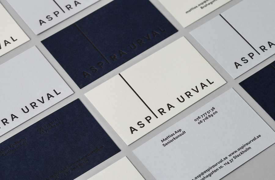 Dyed board and black foil business cards for Aspira Urval designed by BVD