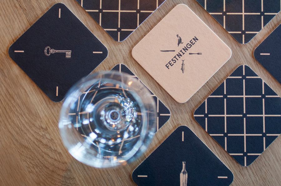 Beer mats and coasters for restaurant Festningen by Uniform, Norway