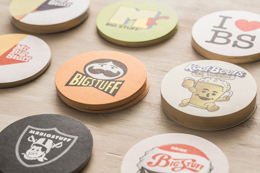 Coasters and beer mats for restaurant Mr Big Stuff by Can I Play, Australia