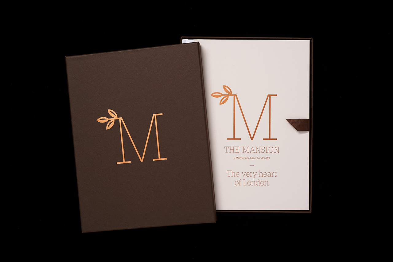 Brand identity and brochure for The Mansion Marylebone Lane by Pentagram