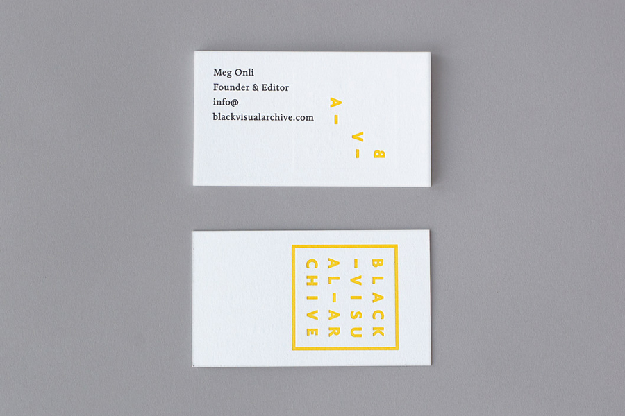 Business card for Black Visual Archive by Fivethousand Fingers