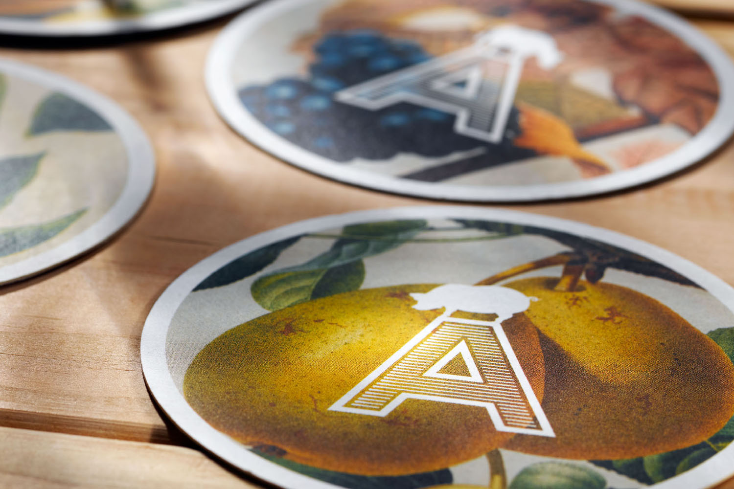 Beer mats and coasters for restaurant Agricola designed by Mucca, United States