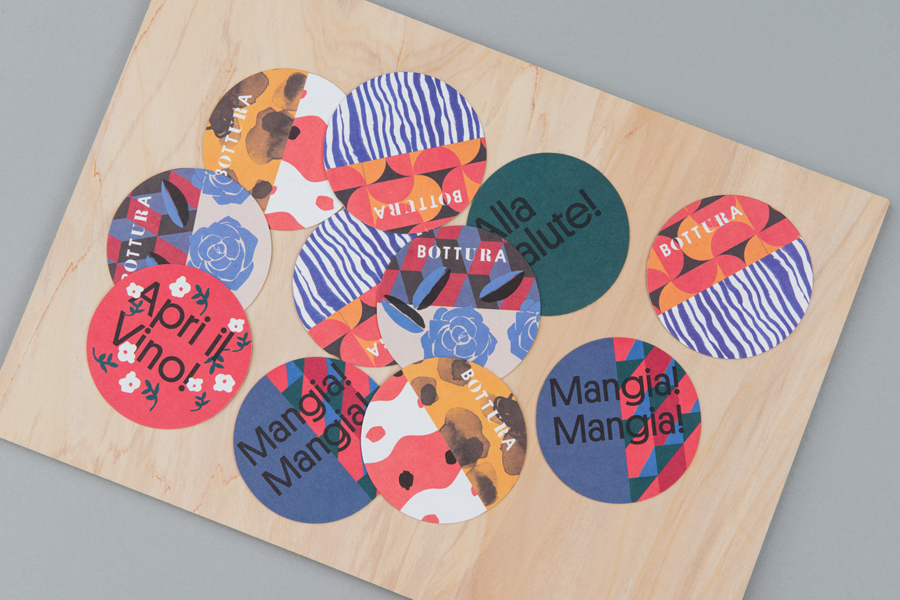Beer mats and coasters for restaurant Bottura by Foreign Policy, Singapore