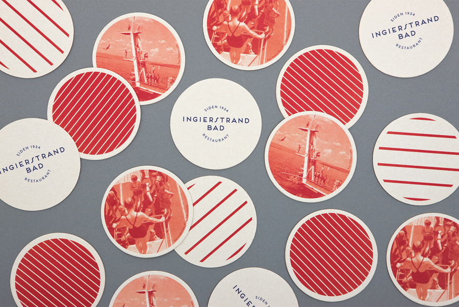 Beer mats and coasters for restaurant Ingierstrand Bad by Uniform, Norway