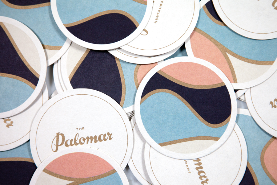 Beer mats and coasters for restaurant The Palomar by Here Design, United Kingdom