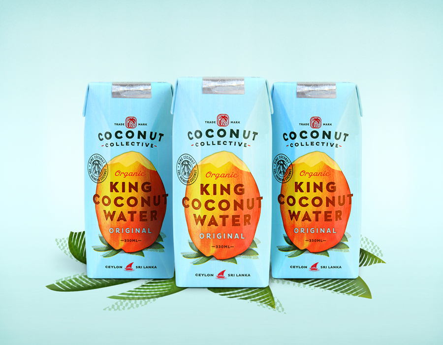 Bright contemporary packaging for organic, flavoured, coconut water brand The Coconut Collective by Marx Design