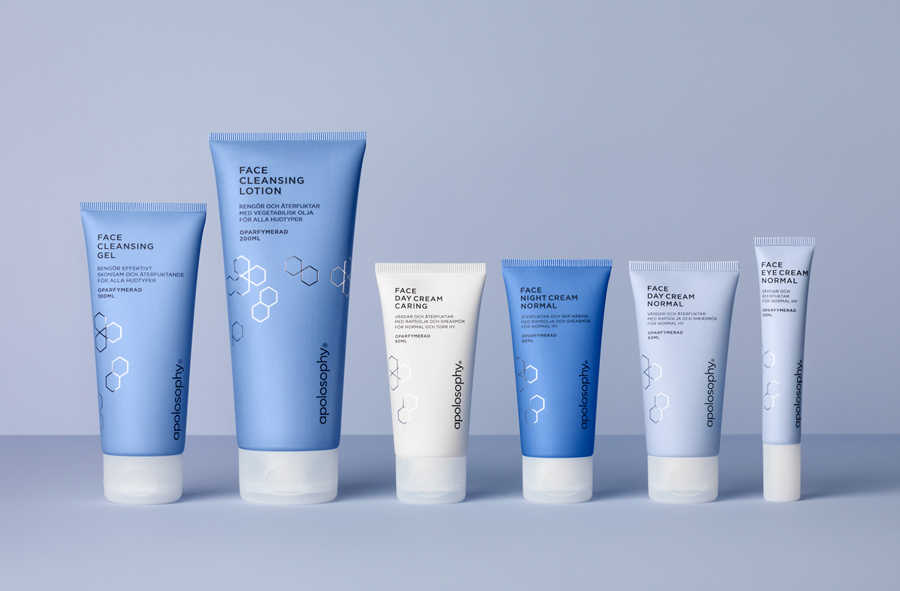 Packaging design for Swedish cosmetic brand Apolosophy by graphic design studio BVD