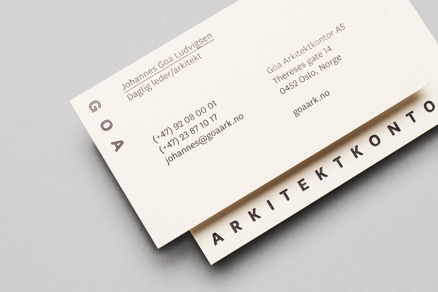 Business card design with black foil detail for architecture firm Goa Arkitektkontor by Heydays