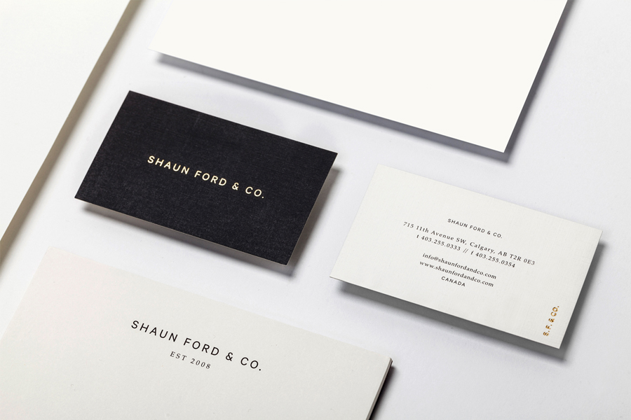 Business cards with copper foil detail for Shaun Ford designed by Savvy