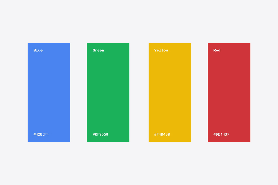 Google's colour palette 2015