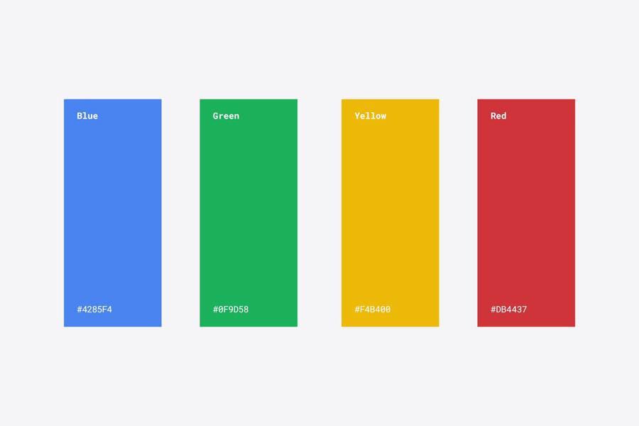 Google's colour palette 2015